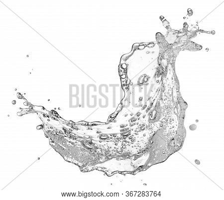 Water Containing Soap And Bubble Splashing Isolated On White