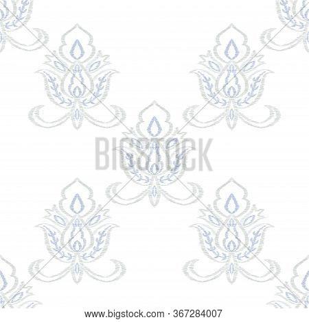 Indigo Motif Oriental Vector Seamless Pattern. Indian Medallion Wallpaper. Moroccan Design. Blue Orn