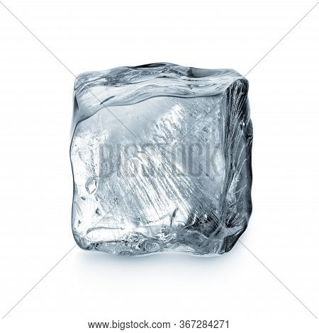 An Ice Cube Isolated On White Background
