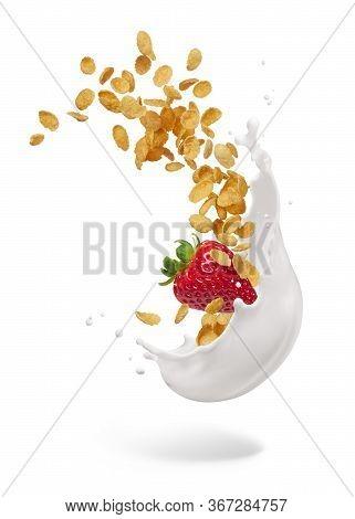 Milk Splash With Corn Flakes And Strawberry