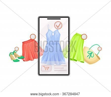Smartphone Screen With Online Shop App And Clothing Items In Shopping Cart Vector Illustration