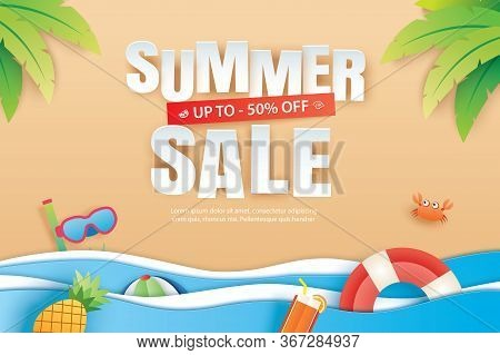 Summer Sale With Decoration Origami On Beach Background. Paper Art And Craft Style.