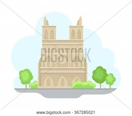 Paris Street View With Cathedral And Green Trees Vector Illustration