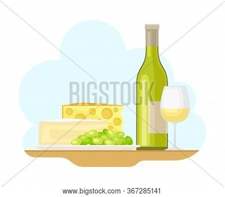 French Food With Slabs Of Cheese And Champagne Bottle Vector Illustration