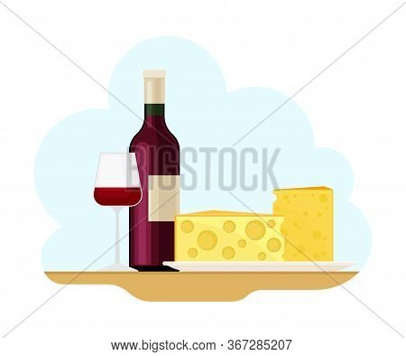 French Food With Slabs Of Cheese And Red Wine Bottle Vector Illustration
