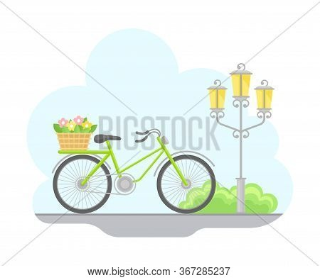 Paris Street View With Streetlight And Bicycle With Flowers In Basket Vector Illustration