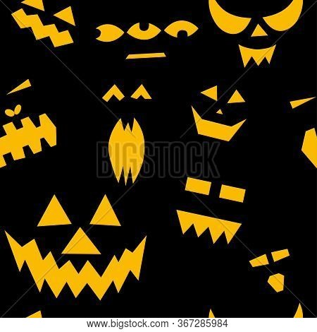 Seamless Pattern Of Halloween Scary Pumpkins On Black Background. Funny, Creepy, Smiling Faces. Happ