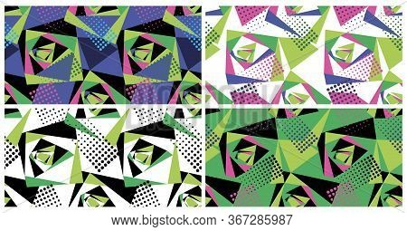 Set Of Geometric Seamless Patterns. Grunge Urban Repeating Background For Textiles, Wrapping Paper.