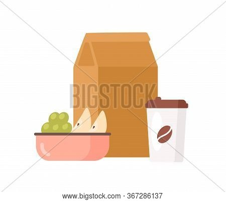 Colorful Appetizing Fresh Food To Go Vector Flat Illustration. Paper Package With Meal, Coffee Cup,