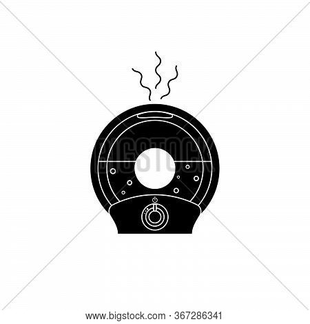 Simple Black Glyph Icon Round Humidifier With Outgoing Steam Humidify. Vector Illustration