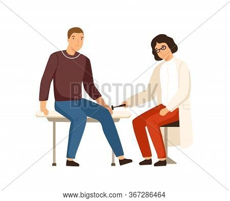 Female Neuropathologist Examining Male Patient Use Reflex Hammer Vector Flat Illustration. Man Visit