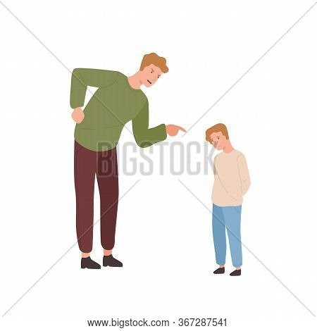 Mad Father Scolding Little Son Vector Flat Illustration. Annoyed Parent Screaming To Guilty Child Po
