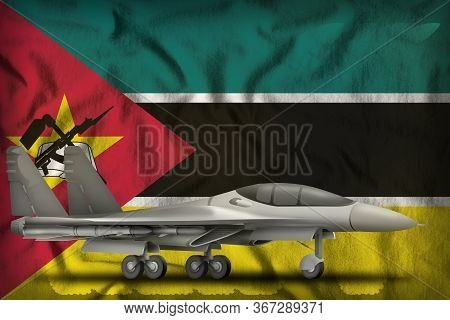 Fighter, Interceptor On The Mozambique Flag Background. 3d Illustration