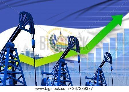 El Salvador Oil Industry Concept, Industrial Illustration - Growing Graph On El Salvador Flag Backgr