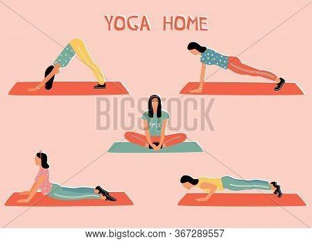 Vector Set With Woman Doing Yoga At Home. Illustration With Baddha Konasana, Bound Angle Pose; Adho