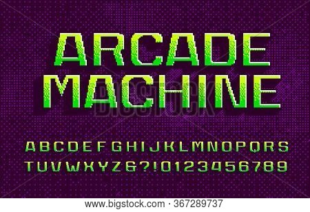 Arcade Machine Alphabet Font. 3d Digital Letters And Numbers. Abstract Pixel Background. 80s Arcade