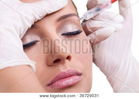 Cosmetic injection of botox, close-up