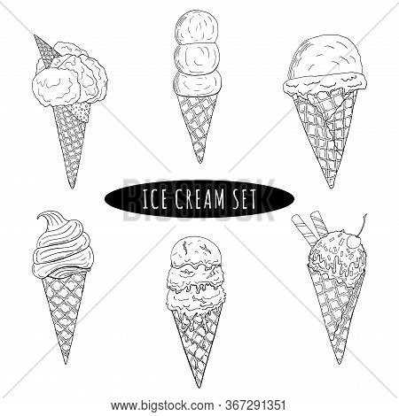 Ice Cream In A Waffle Cone Set, Cold. Summer,refreshing, Sketch. Vector Illustration, Icon Hand Draw