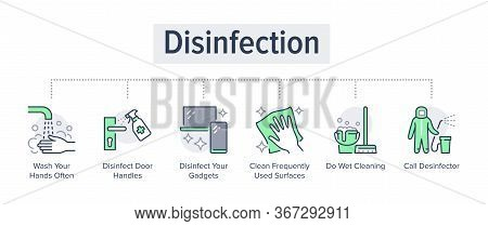 Disinfection Tips Poster With Flat Icons. Vector Illustration Included Icon As Washing Hands, Disinf