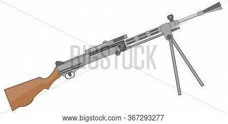 Soviet Machine Gun On White Background Is Insulated