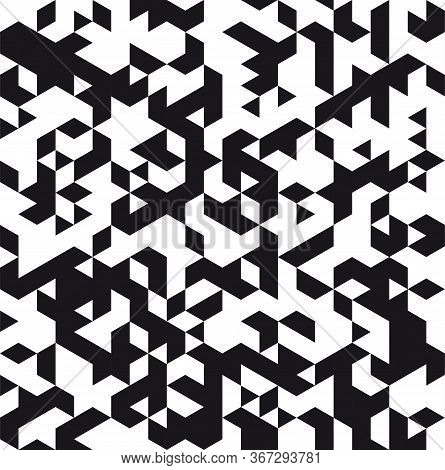 Triangular Abstract Background. Particle Background Or Pattern. Black Triangle Particles On White Ba