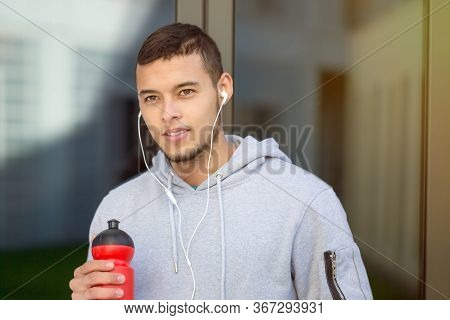 Drinking Water Young Man Runner Running Looking Thinking Jogging Sports Training Fitness