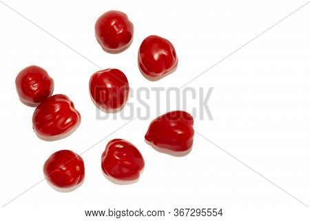 So-called Elongated Tomatoes, Laid One Near The Other, Isolated On A White Background. Lots Of Red S