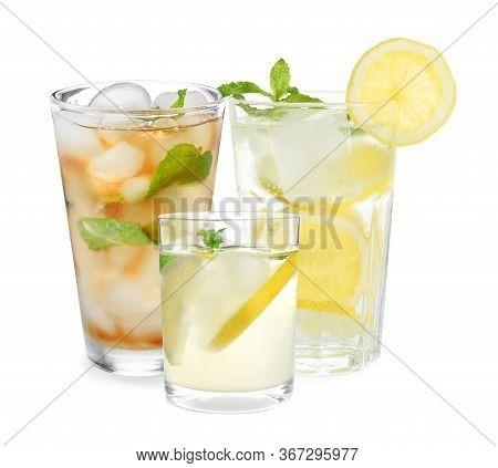 Set Of Refreshing Nonalcoholic Drinks On White Background