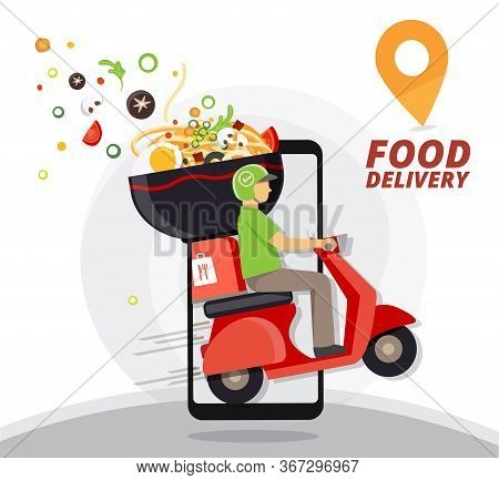 Food Delivery Service, Fast Food Delivery, Scooter Delivery Service , Vector Illustration