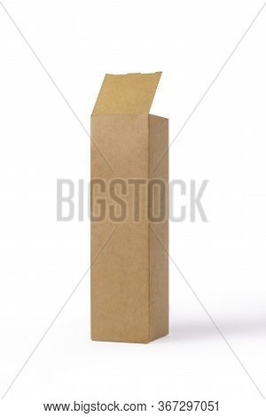 Open Cardboard Box Isolated On A White Background. Mock Up Package Design. Elongated Craft Cardboard