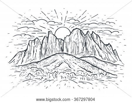 Landscape Vector Sketch Illustration With A Mountains, Rocks, Trees And Sun. Black Line Isolated On