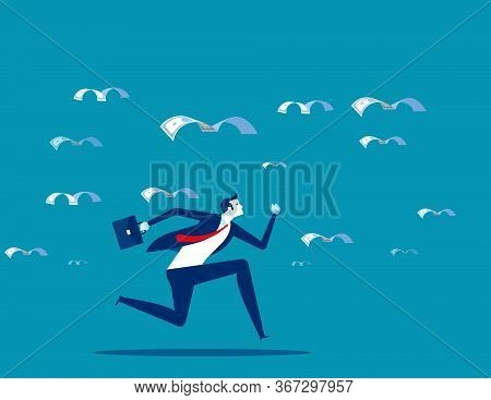 Pursue The Migration Of Money. Business Finance And Economy Concept, Flat Cartoon Vector Design.