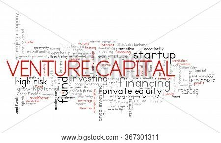 Venture Capital Concept. Venture Investing Word Cloud Sign.