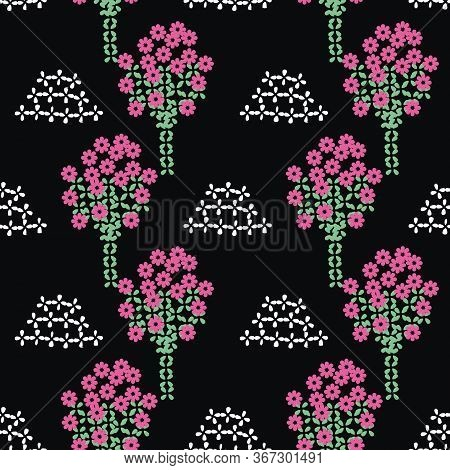 Blooming Orchard Seamless Vector Folk Pattern On Black Background. Decorative Surface Print Design.