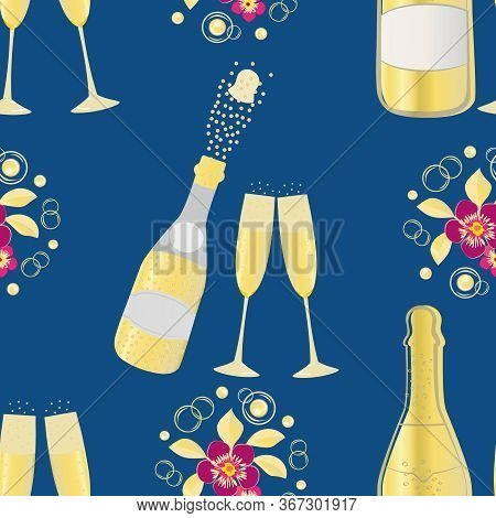 Popping Champagne Bottle Vector Seamless Pattern Background. Fizzy Bubbles, Champagne Flutes, Glasse