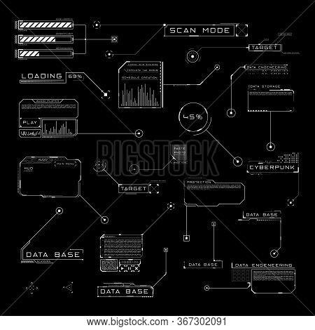 Set Of Hud Callout Titles. Futuristic Sci-fi Design Elements. Editable Stroke. Good For Animation. V