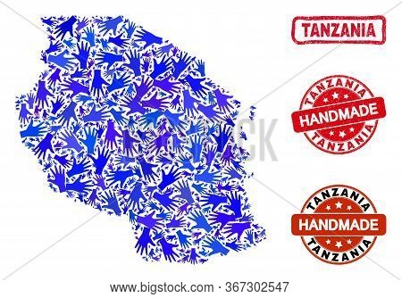 Vector Handmade Composition Of Tanzania Map And Grunge Stamp Seals. Mosaic Tanzania Map Is Made Of R
