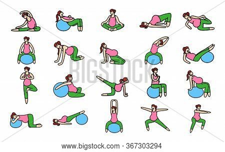 Color Gymnastic For Pregnant Icon Set. Set Of 20 Yoga Poses For Pregnant Women. Prenatal Exercise. F