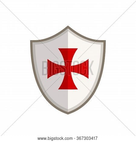 Templar Shield With Red Cross Isolated On White Background. Shield Of Templar Knights In Flat Style.