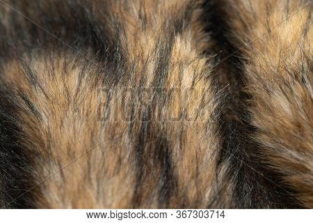 Close-up Of A Fluffy Dark Brown Faux Fur Fabric With A Background Texture. Brown Artificial Fabric,