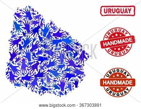 Vector Handmade Combination Of Uruguay Map And Rubber Seals. Mosaic Uruguay Map Is Done With Randomi