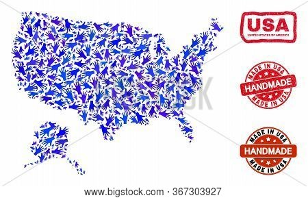Vector Handmade Composition Of Usa With Alaska Map And Corroded Watermarks. Mosaic Usa With Alaska M
