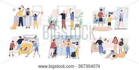 Happy Parents With Children Cleaning Rooms And Windows. Family Doing Housework Together. Spring Clea