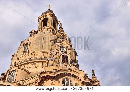 Dresden Frauenkirche Church. Religious Landmark Of Dresden, Germany. Sunset Light.