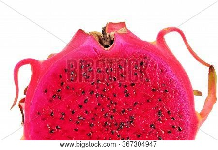 Pitahaya Fruit, Dragon Fruit Isolated On White Background. Sliced Dragon Fruit. Half Sliced Dragon F