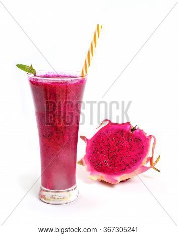 Red Dragon Fruit Smoothies In Glasses With Half Sliced Isolated On White Background. Pitahaya Fruit.