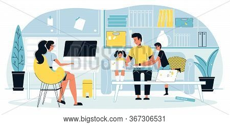 Busy Mother Freelancer Engaged In Online Work At Computer. Father Teaching Kid To Use Laptop, Doing