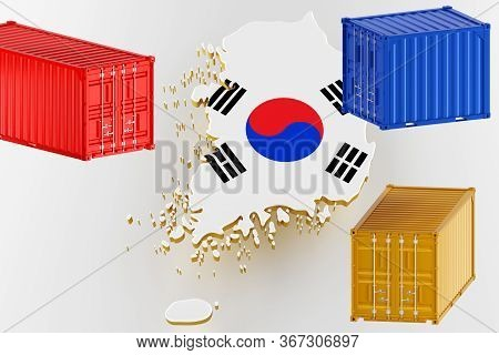 3d Map Of Korea. Freight Shipping In Containers. Export From The Country In Containers. 3d Rendering