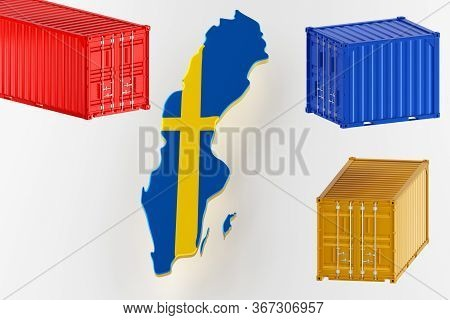 3d Map Of Sweden. Freight Shipping In Containers. Export From The Country In Containers. 3d Renderin