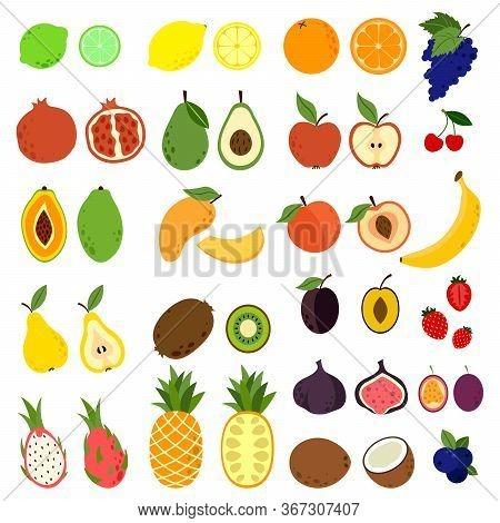 Doodle Fruits. Natural Tropical Fruit, Doodles Citrus Orange And Vitamin Lemon. Exotic Tropical Orga